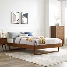 Billie King Wood Platform Bed Frame in Walnut