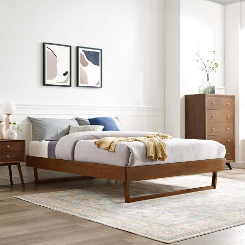 Modway - Billie King Wood Platform Bed Frame in Walnut