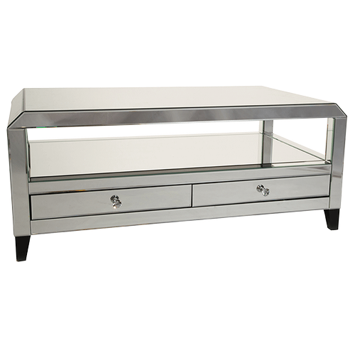 Montreal Mirrored Cocktail Table w/Drawers