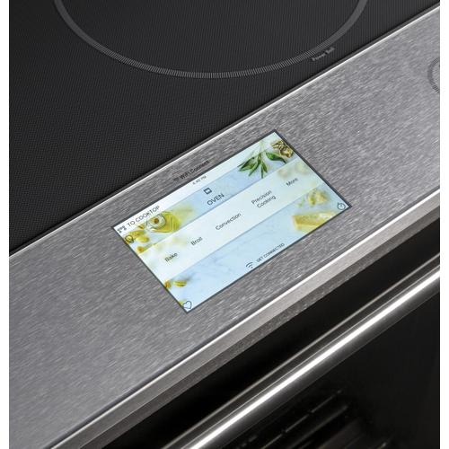 "Café 30"" Smart Slide-In, Front-Control, Induction and Convection Range in Platinum Glass"