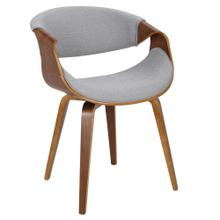 Curvo Chair - Walnut Wood, Light Grey Fabric
