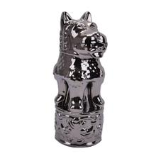 Decorative Ceramic Foo Dog Figurine, Silver
