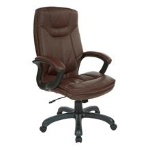 High Back Faux Leather Manager's Chair With Padded Arms and Black Nylon Base