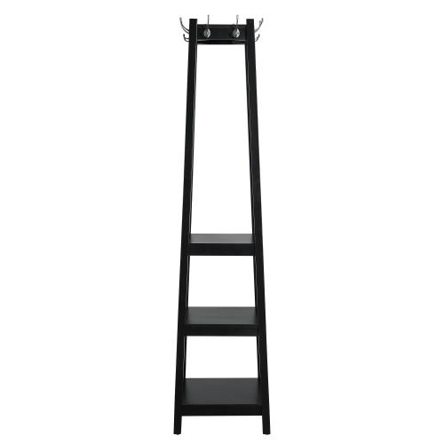 3-tier and 8-hook Coat Rack, Black