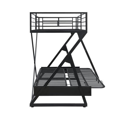 Twin Full Futon Loft Bed, Black