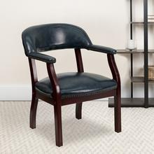 View Product - Navy Vinyl Luxurious Conference Chair with Accent Nail Trim
