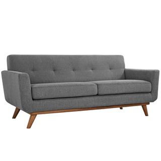 Engage Upholstered Fabric Loveseat in Expectation Gray