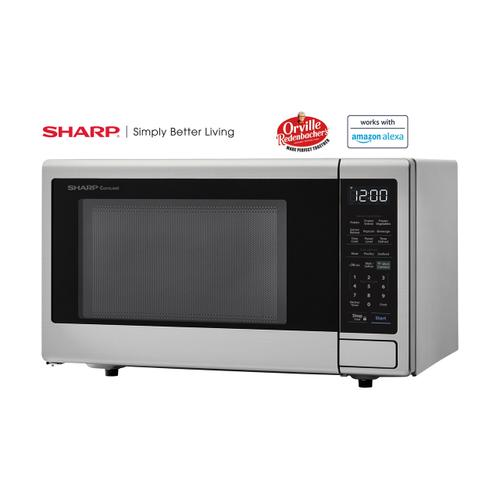 Sharp - 1.4 cu. ft. 1000W Sharp Stainless Steel Smart Carousel Countertop Microwave Oven