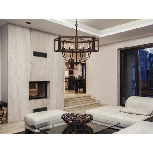 60W x 8 Renton hexagon rubber wood / metal chandelier