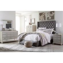 California King Upholstered Bed With Mirrored Dresser, Chest and Nightstand