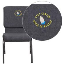 Embroidered HERCULES Series 18.5''W Dark Gray Fabric Stacking Church Chair with 4.25'' Thick Seat - Silver Vein Frame