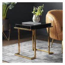 GA Delray Black Mirrored Side Table
