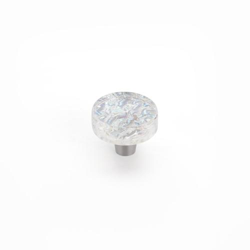 "Ice, Knob, Round, Clear Pearl, 1-1/2"" dia"
