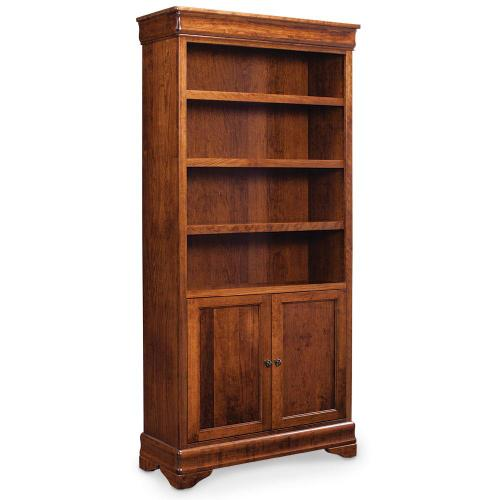 Gallery - Louis Philippe Bookcase with Doors on Bottom, 5 Adjustable Shelves