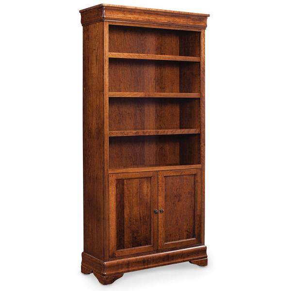 See Details - Louis Philippe Bookcase with Doors on Bottom, 3 Adjustable Shelves
