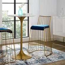 Rivulet Gold Stainless Steel Performance Velvet Bar Stool in Gold Navy