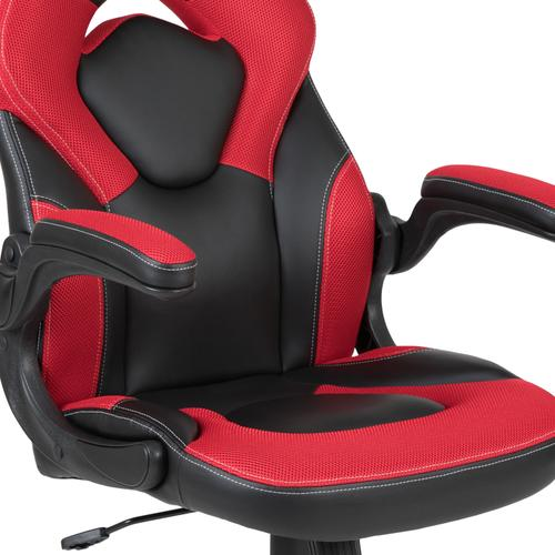 Gallery - Black Gaming Desk and Red\/Black Racing Chair Set with Cup Holder, Headphone Hook, and Monitor\/Smartphone Stand [BLN-X10RSG1031-PK-GG]