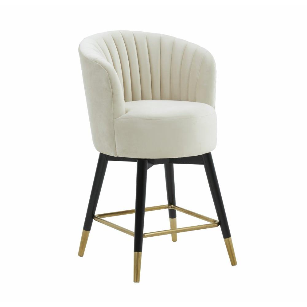 Liana Cream Velvet Swivel Stool by Inspire Me! Home Decor