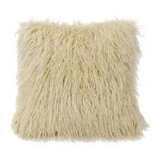 Mongolian Faux Fur Throw Pillow (6 Colors) - Cream
