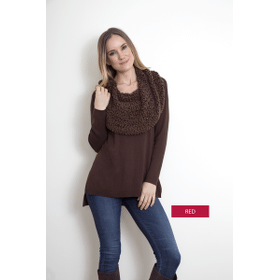 WB Shoulder/Wrap Sweater Red (3 pc. ppk.)