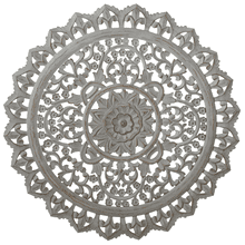 See Details - Carved Round Greywash Floral Wall Decor