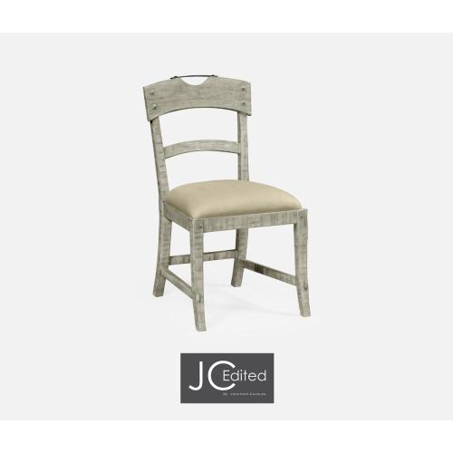 Planked Rustic Grey Side Chair, Upholstered in MAZO