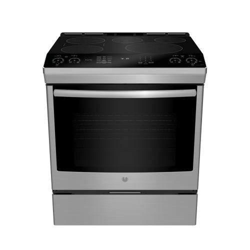"GE Profile 30"" Electric Slide-In Induction Range with Storage Drawer Black Stainless Steel - PCHS920BMTS"