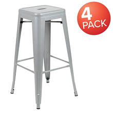 "30"" High Metal Indoor Bar Stool in Silver - Stackable Set of 4"