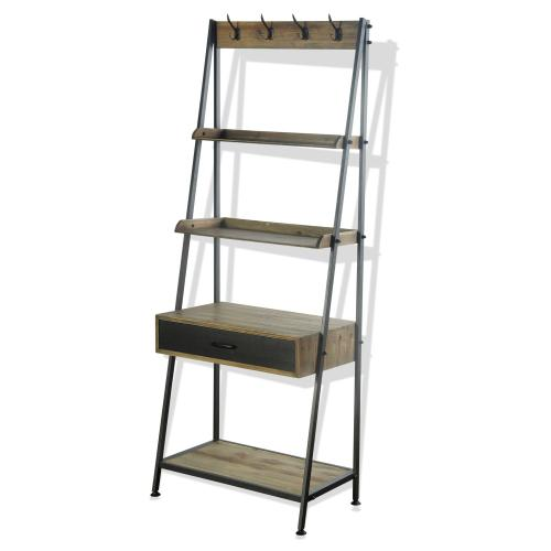 CAMDEN MULTI CENTER  29in w. X 72in ht. X 17in d.  Four Shelf Display Unit with Desk and Drawer in