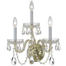 See Details - Traditional Crystal 3 Light Swarovski Strass Crystal Brass Sconce