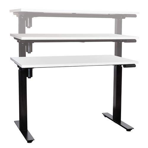 Office Star - 48x24 Single-motor Height Adjustable Table, White Top/black Base