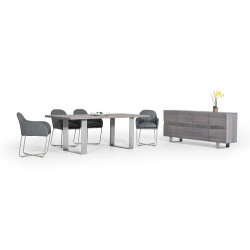 Modrest Murphy Modern Grey Aged Oak Dining Table