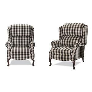 Lancer - High back recliner with Cherry Queen Anne legs