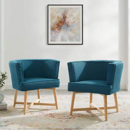 Anders Accent Chair Upholstered Fabric Set of 2 in Azure