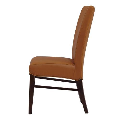 Milton Bonded Leather Dining Side Chair Wenge Legs, Vintage Caramel
