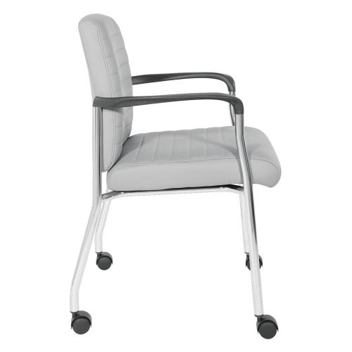 Guest Chair In Grey Faux Leather With Chrome Frame