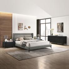 See Details - Legend 4 Piece Gray Fabric Queen Platform Bedroom Set with Dresser and Nightstands