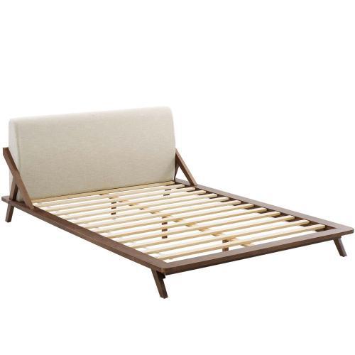 Modway - Luella Queen Upholstered Fabric Platform Bed in Walnut Beige