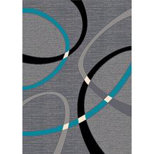 See Details - CONT-40 TURQUOISE Contemporary Abstract Oval Rug