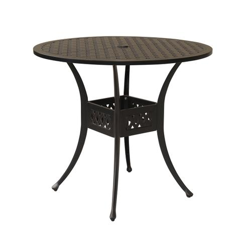 "Bonita Weave 42"" Round Die Cast Gathering Table w/ Umbrella Hole"