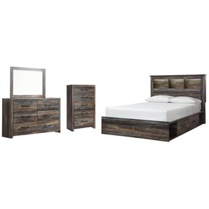 Ashley - Queen Bookcase Bed With 2 Storage Drawers With Mirrored Dresser and Chest