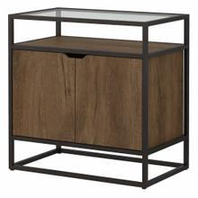 See Details - Record Player Stand with Storage, Rustic Brown Embossed