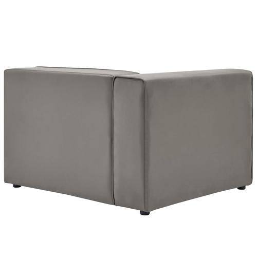 Modway - Mingle Vegan Leather Left-Arm Chair in Gray