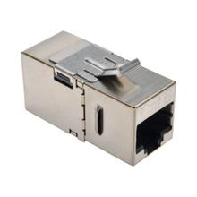 Cat6 Straight-Through Modular Shielded In-Line Snap-In Coupler with 90-Degree Down-Angled Port (RJ45 F/F)