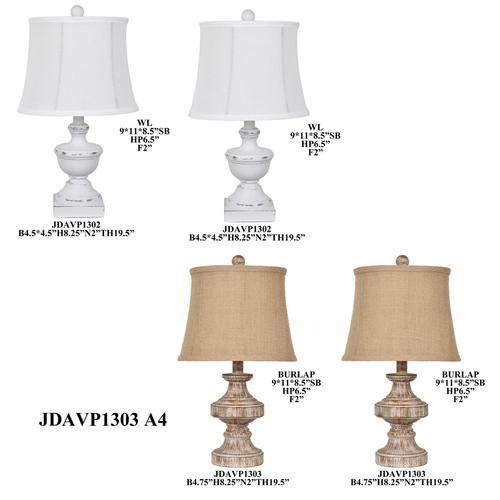 "19.5"" S/4 Resin assorted table lamp, 4 pcs pk/ 2.92'"