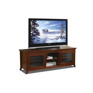 """62"""" Wide Credenza, Solid Wood and Veneer In A Walnut Finish, Accommodates Most 70"""" and Smaller Flat Panels - No Tools Required"""