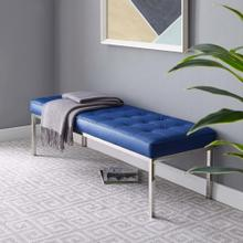 Loft Tufted Large Upholstered Faux Leather Bench in Silver Navy