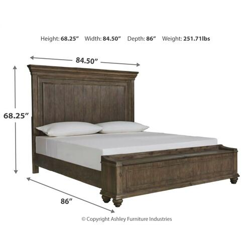 Johnelle California King Panel Bed With Storage Bench