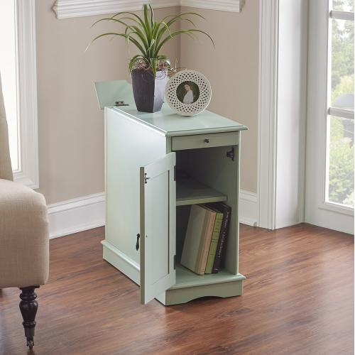 1-door With Usb and Electrical Charging Station Accent Table, Aqua