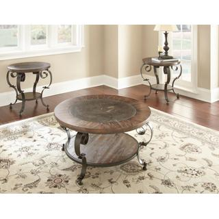 See Details - Madrid Round End Table w/ Blue Stone
